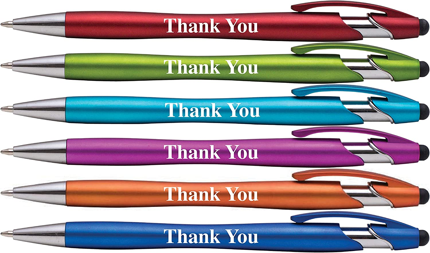 """""""Thank You"""" Gift Stylus Pens For All TouchScreen Devices - 2 in 1 Combo Pen for Events, Parties, Employee Appreciation & More (6 Pack)"""