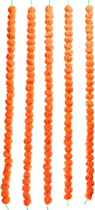 TIED RIBBONS Artificial Indian Marigold Flowers String (Pack of 5) - Flower Garlands for Indian Wedding Party House Warming Home Decoration