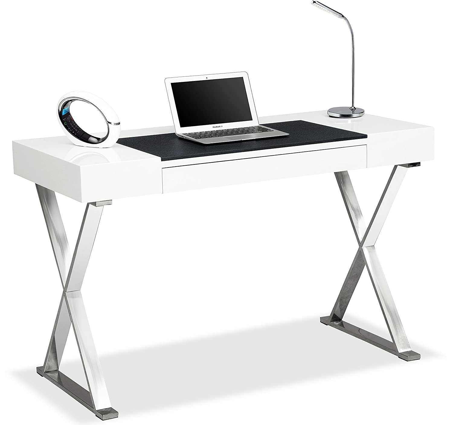 Centurion Supports ADONIS Gloss White And Chrome Ergonomic Home Office Luxury Computer Desk Amazoncouk Kitchen