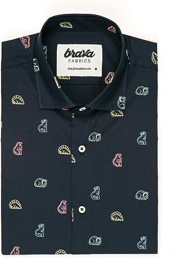 Brava Fabrics - Camisa de Hombre - Camisa para Hombre - Camisa de Hombre - 100% Algodón - Modelo Dinosaurus Cookies: Amazon.es: Ropa y accesorios