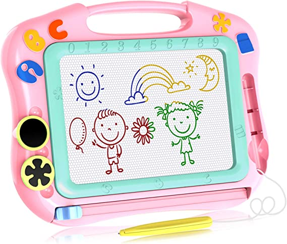 N//B Gifts for 1 2 3 Year Old,Magnetic Doodle Table for Toddlers Kids Writing Doodle Board Colorful Erasable with Stamps /& Magnet Pen for Kids,for 1-3 Year Old Girl Toys