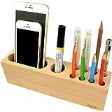 多機能木造ペン立て|10穴のオフィステーブル用の筆さしと文鎮|多くの場合は利用でき,居間,キッチン,バスルーム,教室に適用する