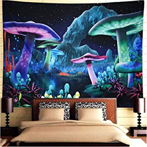 Tapestry for Bedroom, Effectiveuse Psychedelic Mushroom Wall Hanging Tapestries Boho Style for Living Room, Party, Home, ( 150 x 130cm )
