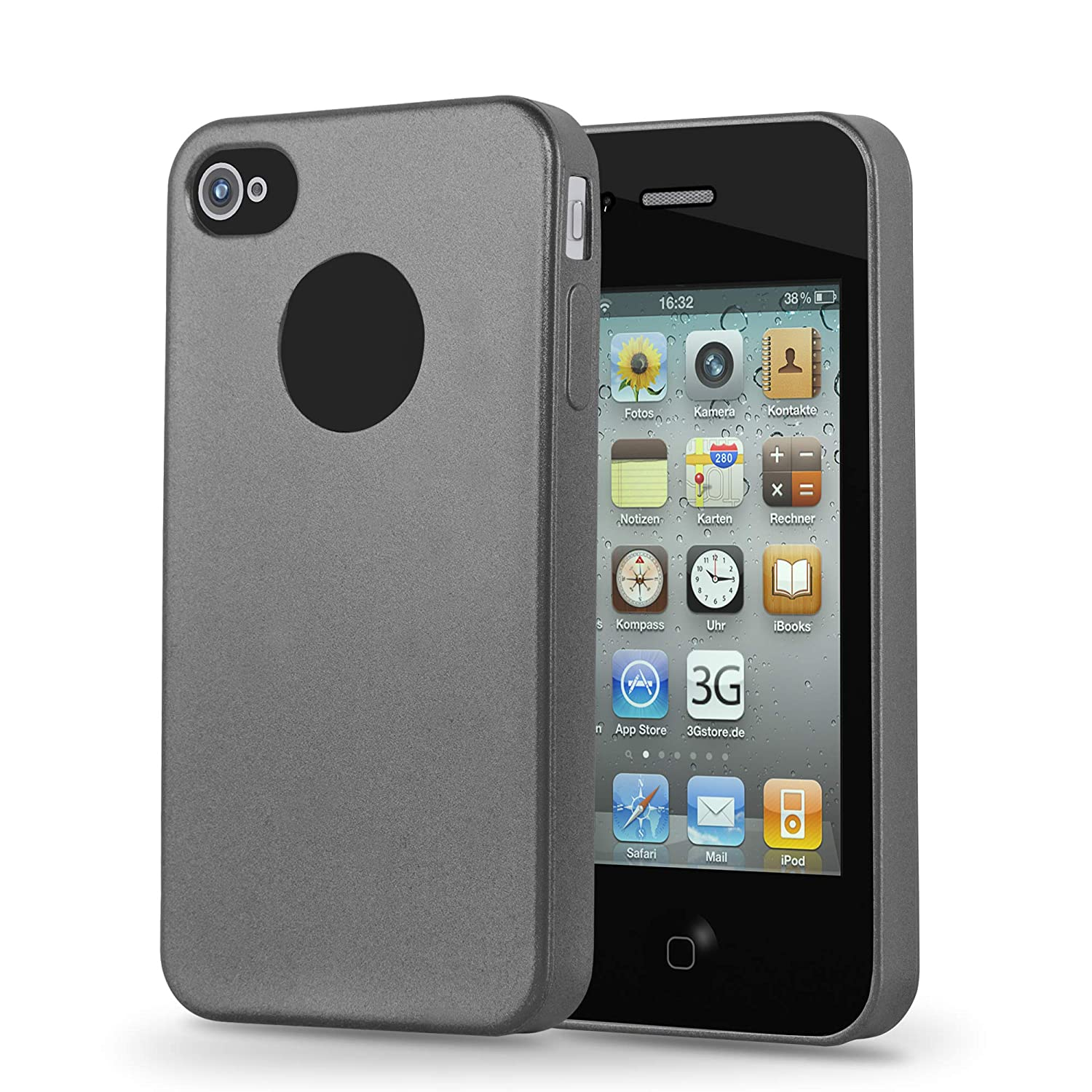 8f6b094fb8a39f Cadorabo Case Works with Apple iPhone 4 / iPhone 4S in Metallic Grey –  Shockproof and Scratch Resistant TPU Silicone Cover – Ultra Slim Protective  Gel Shell ...