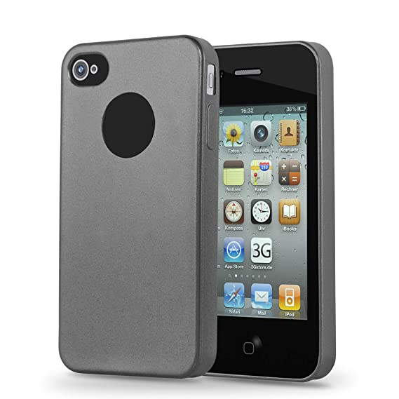 5f8625609aedef Cadorabo Case Works with Apple iPhone 4 / iPhone 4S in Metallic Grey –  Shockproof and