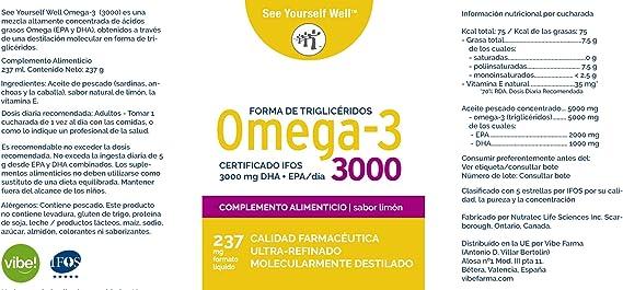 Omega 3 SYW. (237 ml. sabor limón) Certificado IFOS. Forma Triglicérido. Altamente concentrado: 2000 mg de EPA y 1000 mg de DHA. De grado ...