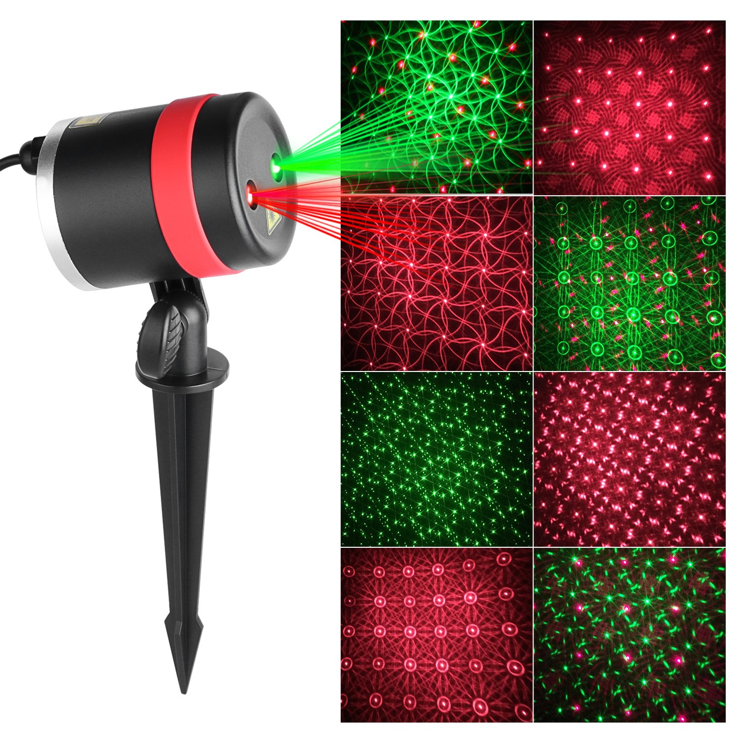 Laser Garden Light, MixMart IP65 Waterproof Red and Green Holiday Projector Lights Outdoor Decorative Lighting Projectors for Holiday Party Landscape Patio Lawn Decoration