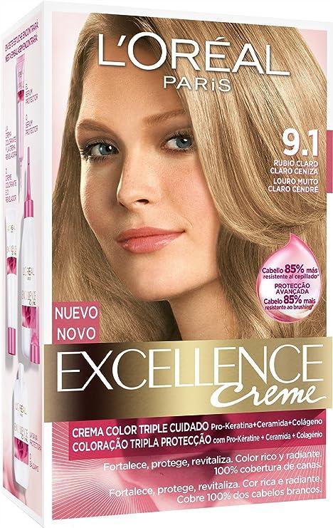 LOréal Paris Coloración Excellence Crème Triple Protección 9.1 Rubio Ceniza Claro - 268 gr