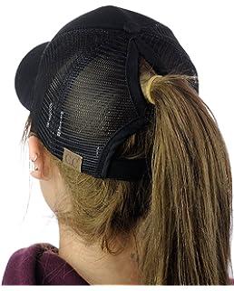 d95a29c2966 C.C Ponycap Messy High Bun Ponytail Adjustable Mesh Trucker Baseball Cap Hat