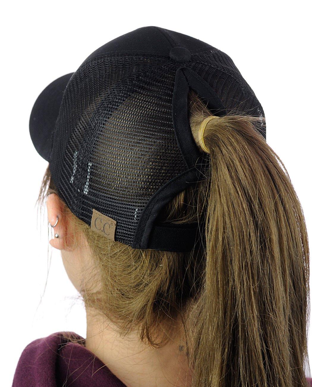 C.C Ponycap Messy High Bun Ponytail Adjustable Mesh Trucker Baseball Cap Hat, Black by C.C