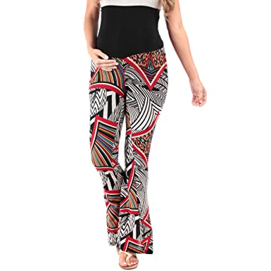 Rags and Couture Women's Strechy Maternity Palazzo Pants With Tummy Control  Made In USA (Small