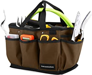 Housolution Gardening Tote Bag, Deluxe Garden Tool Storage Bag and Home Organizer with Pockets, Wear-Resistant & Reusable, 14 Inch, Coffee