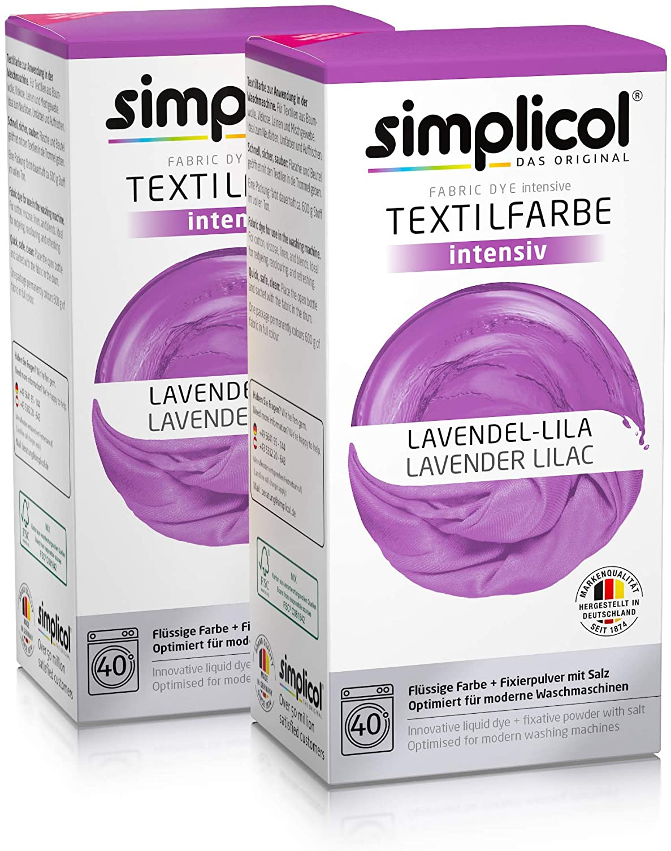 Simplicol Kit de Tinte Textile Dye Intensive Lila: Colorante para Teñir Ropa, Tejidos y Telas Lavadora, Contiene Fijador para Colorante Líquido, Anti ...
