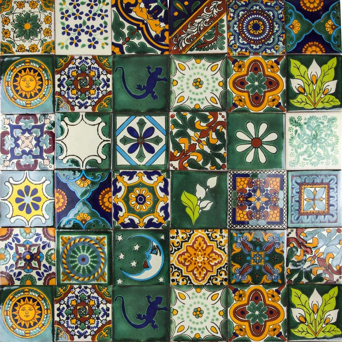 - Cerames Verde - Green Mexican Tiles Pack Of 30 Tiles 10,5x10,5