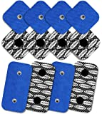 8 electrodes with 1 SNAP, 50 x 50 mm and 4 electrodes with 2 SNAPS, 50 x 100 mm, TENSPAD SILVER compatible with COMPEX, with SILVER PATTERN on the conductive surface - blue
