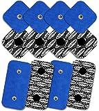8 elettrodi con 1 SNAP, 50 x 50 mm, e 4 elettrodi con 2 SNAP, 50 x 100 mm TENSPAD SILVER compatibili con COMPEX, con MOTIVO in ARGENTO sulla superficie conduttrice - blu
