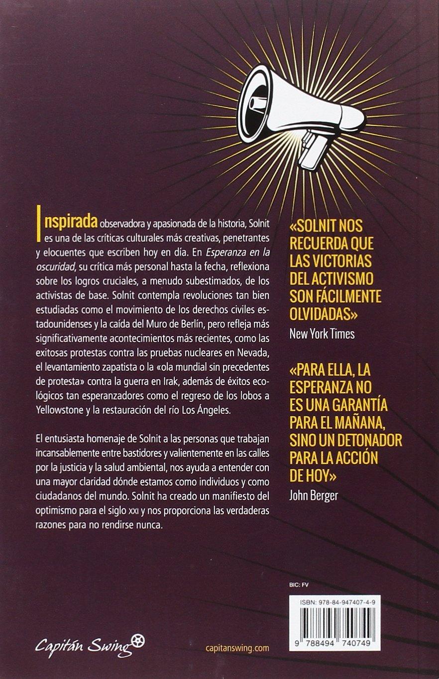 Esperanza en la oscuridad: Amazon.es: Rebecca Solnit, Luc\'a Barahona ...