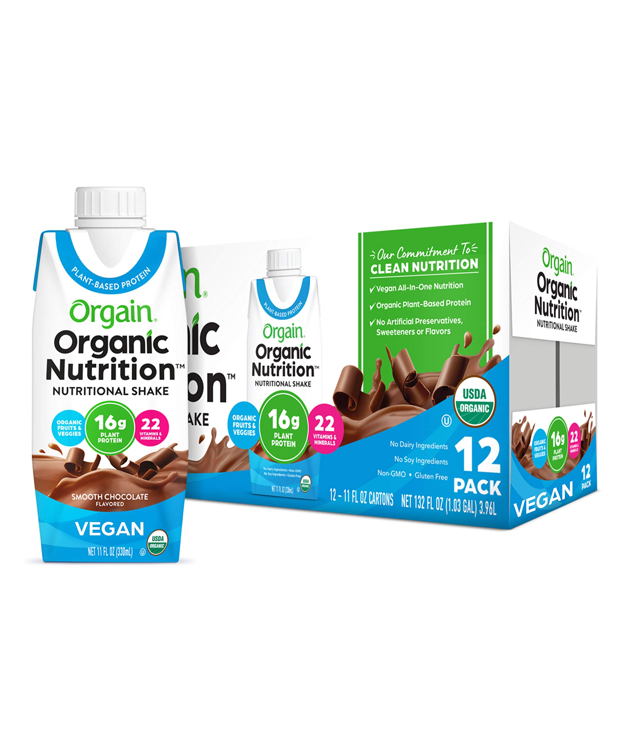 Orgain Organic Vegan Plant Based Nutritional Shake, Smooth Chocolate - Meal Replacement, 16g Protein, 21 Vitamins & Minerals, Dairy Free, Gluten Free, 11 Ounce, 12 Count (Packaging May Vary)