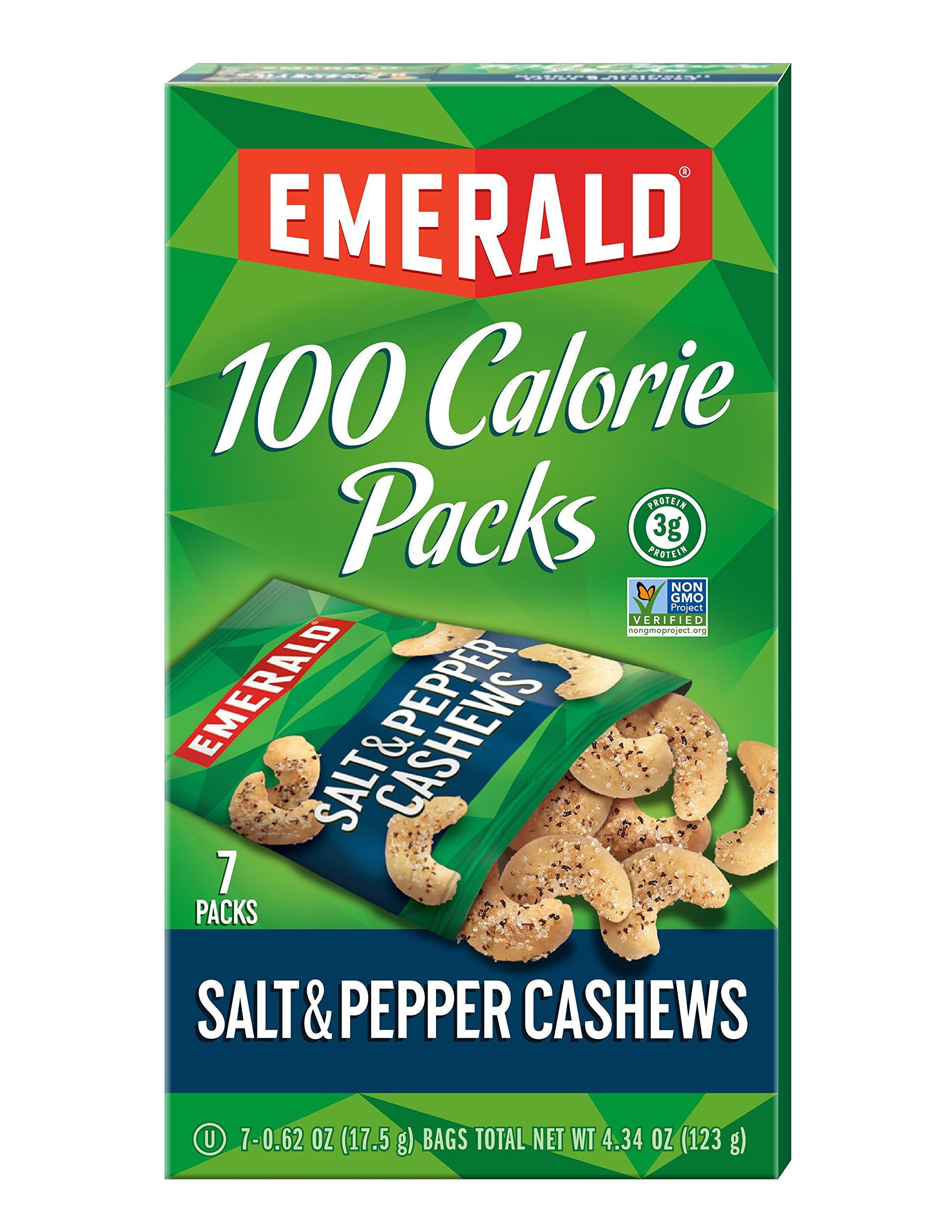 Emerald Nuts, Salt and Pepper Cashews 100 Calorie Packs, 7-Count Box