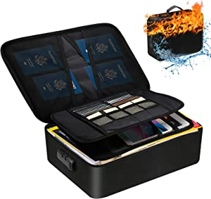 Fireproof Document Bag, Waterproof File Box with Lock for Important Documents Organizer,Portable Storage Safe Case for Travel Home Office and Files Certificates, Gift for Women and Men (Black)