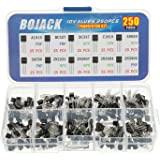 BOJACK 10 Values 250 Pcs A1015 BC327 BC337 C1815 S8050 S8550 2N2222 2N2907 2N3904 2N3906 PNP NPN Power General Purpose Transi