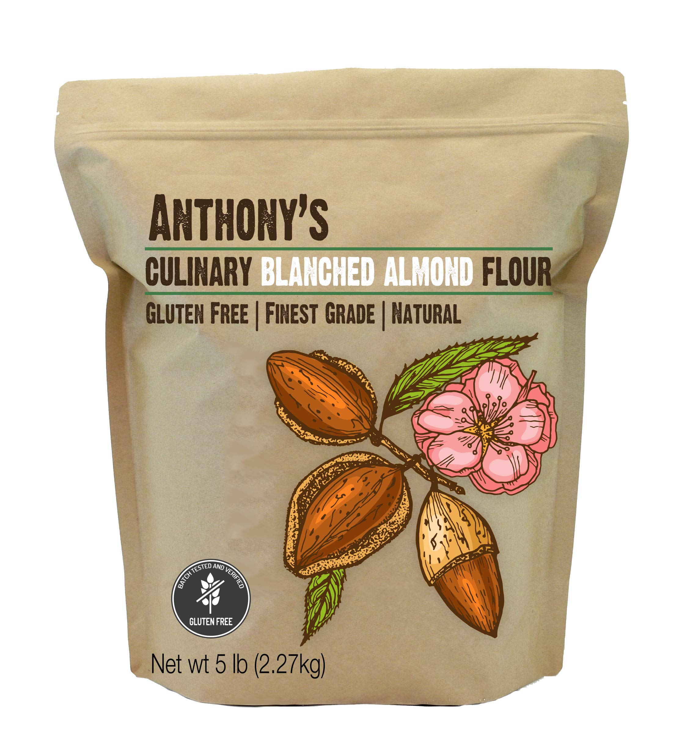 Anthony's Almond Flour Blanched Culinary Grade, 5lbs, Batch Tested and Gluten Free, Keto Friendly by Anthony's