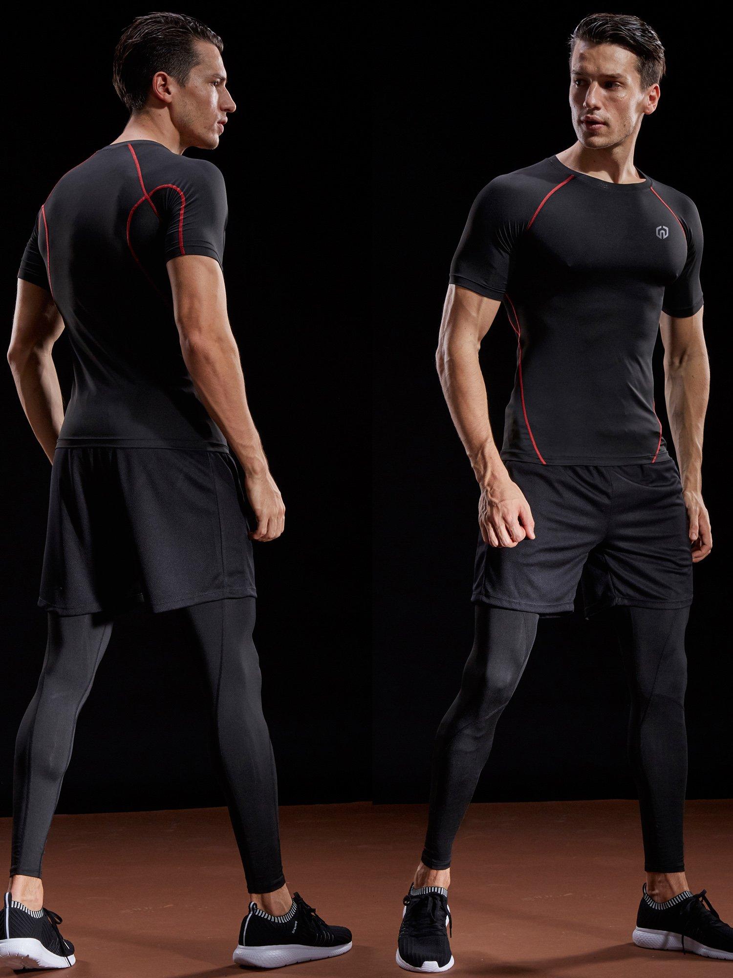 Neleus Men's Compression Baselayer Athletic Workout T Shirts,5022,One Piece,Black(red Striped),US S,EU M by Neleus (Image #2)