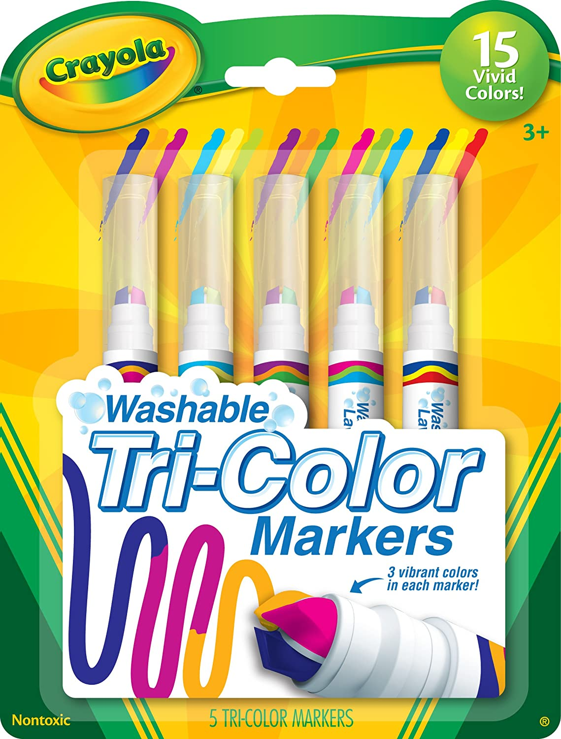 Crayola Triple Tip Markers, Washable Markers, 15 Vivid Colors, 5Count, Model Number: 58-8177: Toys & Games