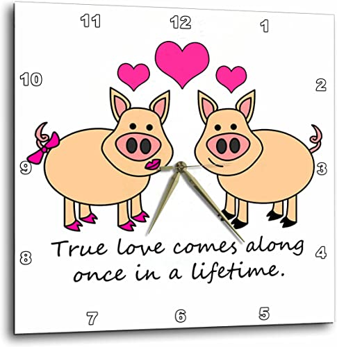 3dRose DPP_6292_3 True Love Comes Along Once in a Lifetime Cute Pig Love Design Wall Clock, 15 by 15-Inch