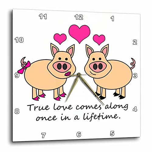 3dRose LLC True Love Comes Along Once in A Lifetime Cute Pig Love Design 10 by 10-Inch Wall Clock