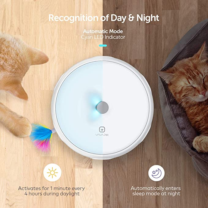 Interactive Cat Toys, VAVA Pet Electronic Cat Toys Automatic Changes  Direction Randomly Stimulates Cat's Senses & Instincts with Real Turkey