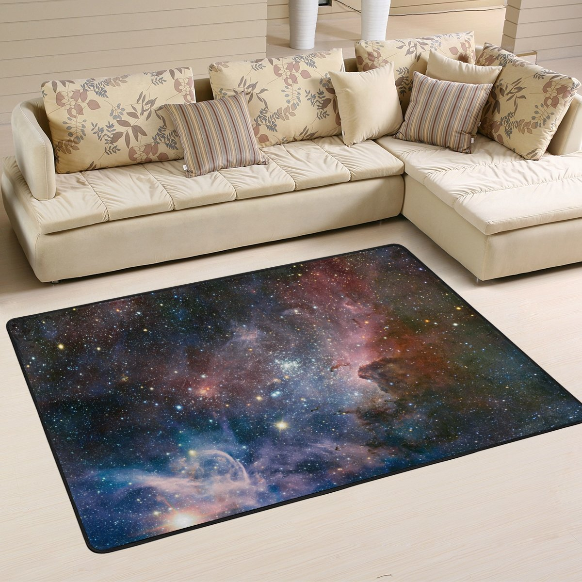 My Little Nest Galaxy Space Cloud Modern Area Rug 4 x 6 For Bedroom Dining Room Living Room Floor Mat Lightweight Carpet, Unique Anti Skid Indoor Outdoor Decor Soft Rug Carpets