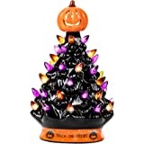 RJ Legend 9-Inch Halloween Decorations Ceramic Tree - 35+ Multicolor Bulbs Halloween Tree – Handcrafted and Hand Painted…