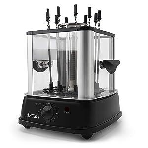 Aroma Housewares ABT-106 Auto Rotating Kebab Maker 10 Skewers Black