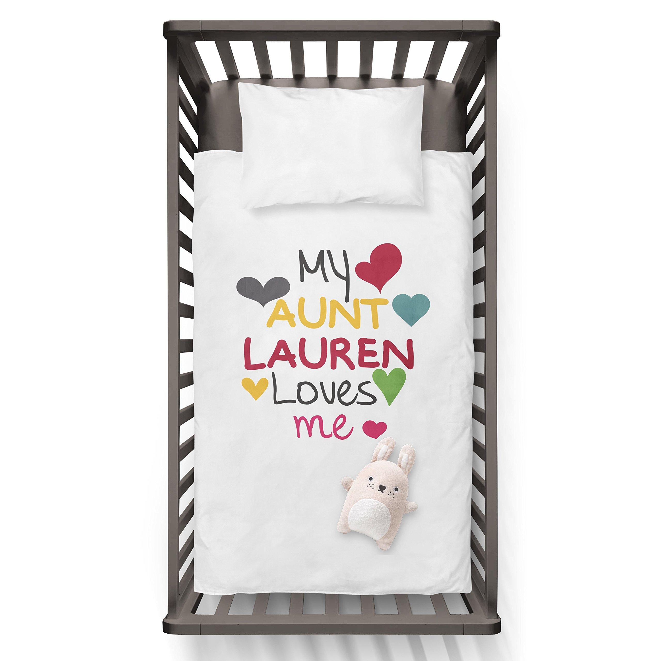 My Aunt Lauren (any name) Loves My Funny Humor Hip Baby Duvet /Pillow set,Toddler Duvet,Oeko-Tex,Personalized duvet and pillow,Oraganic,gift