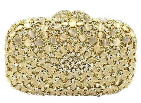 Bolso Mujer Noche Bolsas Fiesta Boda Cartera Brillo Mano Diamantes Cadena Embrague Dorado
