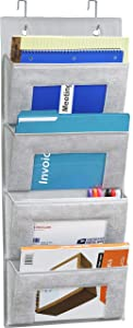 Simple Houseware Over Door 4 Clear Window Pocket File Organizer, Grey