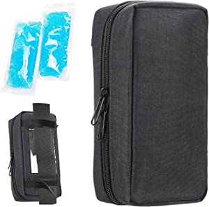 Insulin Cooling Travel Case - Portable Diabetic Supplies Organizer Cooler Bag with 2 Ice Pack by YOUSHARES (Black)