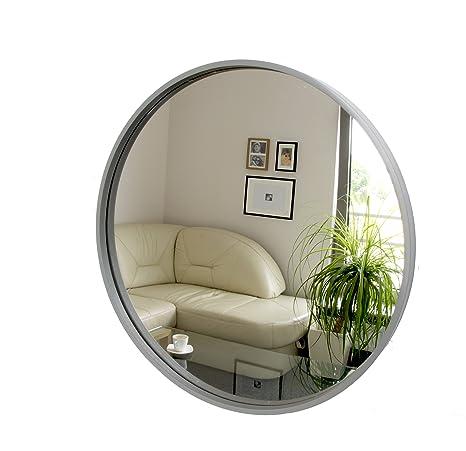 Rund Spiegel Wandspiegel 50cm Durchmesser Holz Grau