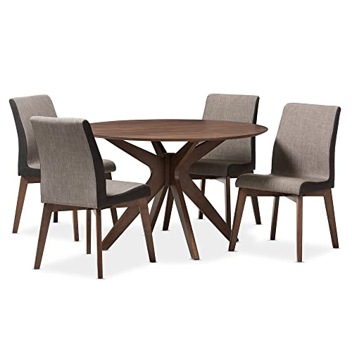 Baxton Studio Kimberly 5 Piece Dining Set, Table Walnut Brown Chairs Gravel Multi Color Walnut Brown