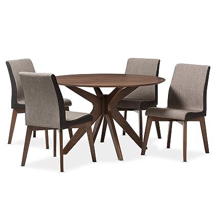 Beau Baxton Studio Kimberly Brown/Walnut 5PC Dining Set, Table: U0026quot;Walnutu0026quot