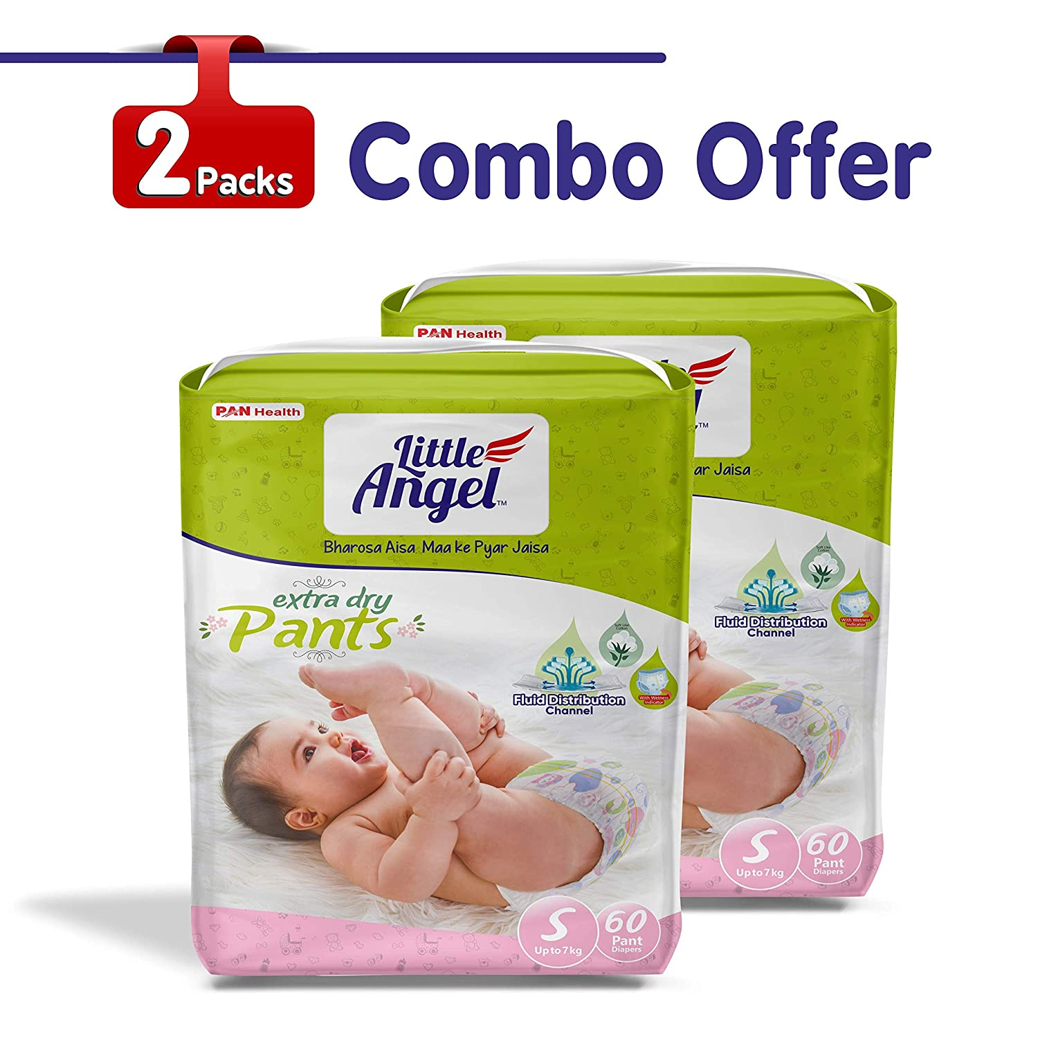 Little Angel Baby Diaper Pants, Small (2 X Pack Of 60)