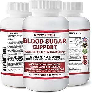 Diabetic Supplement for Blood Sugar Support, 20 Vitamins & Herbs w Cinnamon, Vitamin C+E, Chromium, Vanadium, Zinc, Bitter Melon & ALA for Diabetics, Sugar Balance & Insulin Resistance for Men & Women