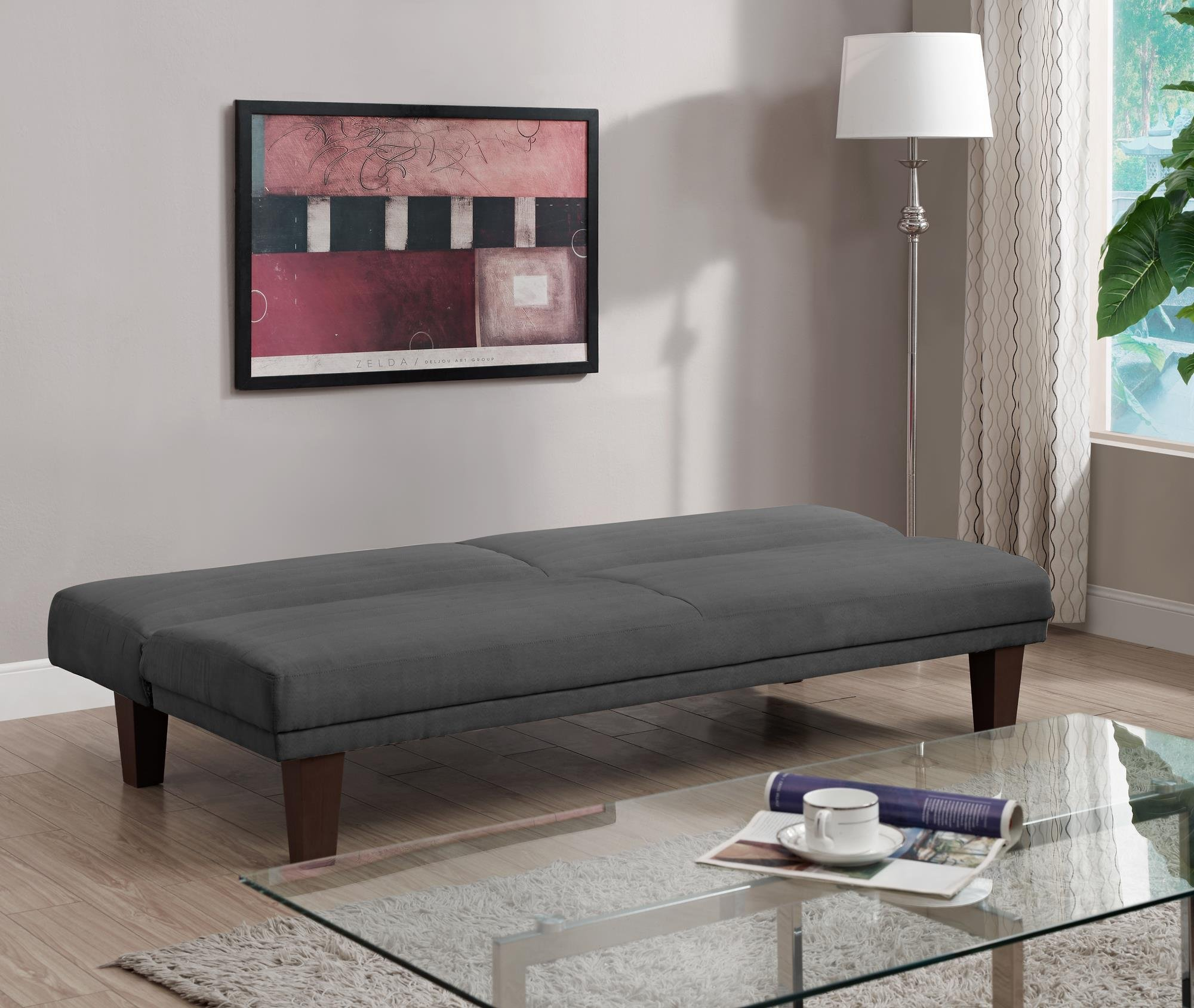 DHP Dillan Convertible Futon Couch Bed with Microfiber Upholstery and Wood Legs - Grey by DHP (Image #7)