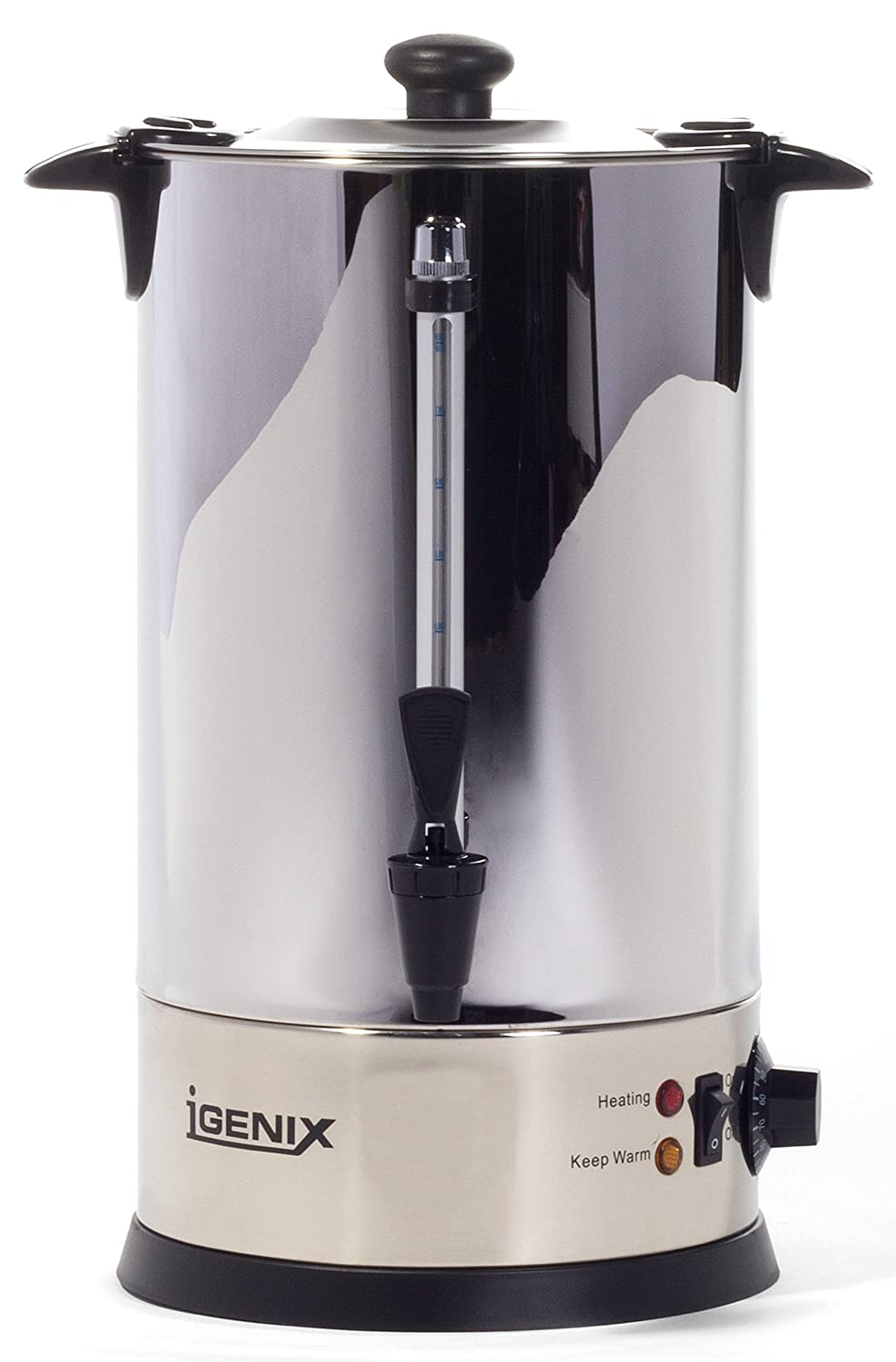 Igenix IG4008 Catering Urn, Hot Water Boiler, Tea Urn for Home Brewing, Commercial or Office Use, 8 Litre, Stainless Steel