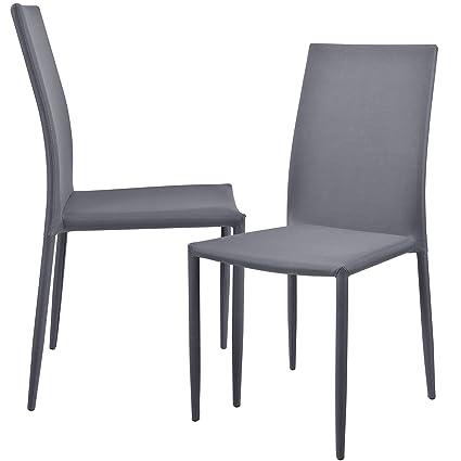 en.casa]® 2 x sedie imbottite (grigio chiaro) con rivestimento ...