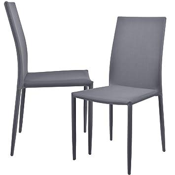 en.casa]®] Set de 2 sillas (Gris Claro) tapizadas de Tela para ...