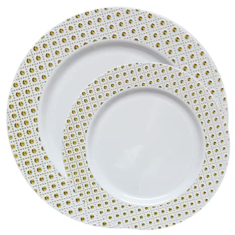 Posh Setting Sphere Collection Combo Pack China Look Gold/White Plastic Plates(Includes  sc 1 st  Amazon.com & Amazon.com: Posh Setting Sphere Collection Combo Pack China Look ...