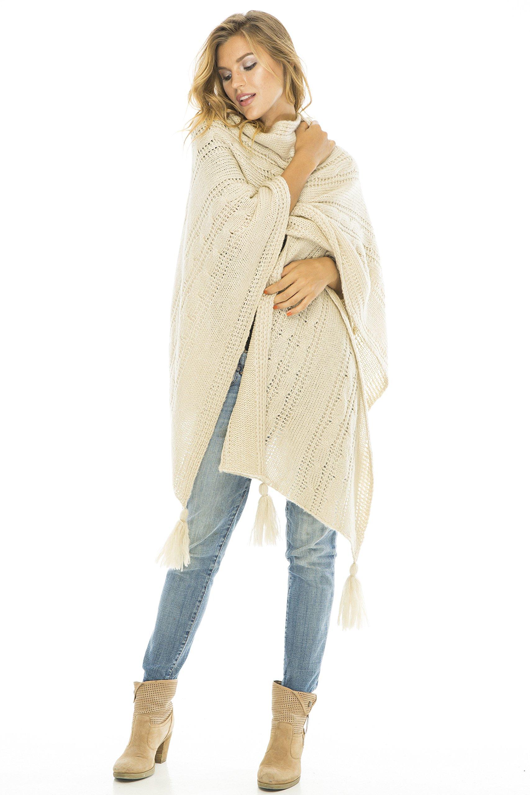 Back From Bali Wrap Cable Natural Cream Knit Wrap Shawl Long Poncho Sweater Boho Soft Tassel Fringe