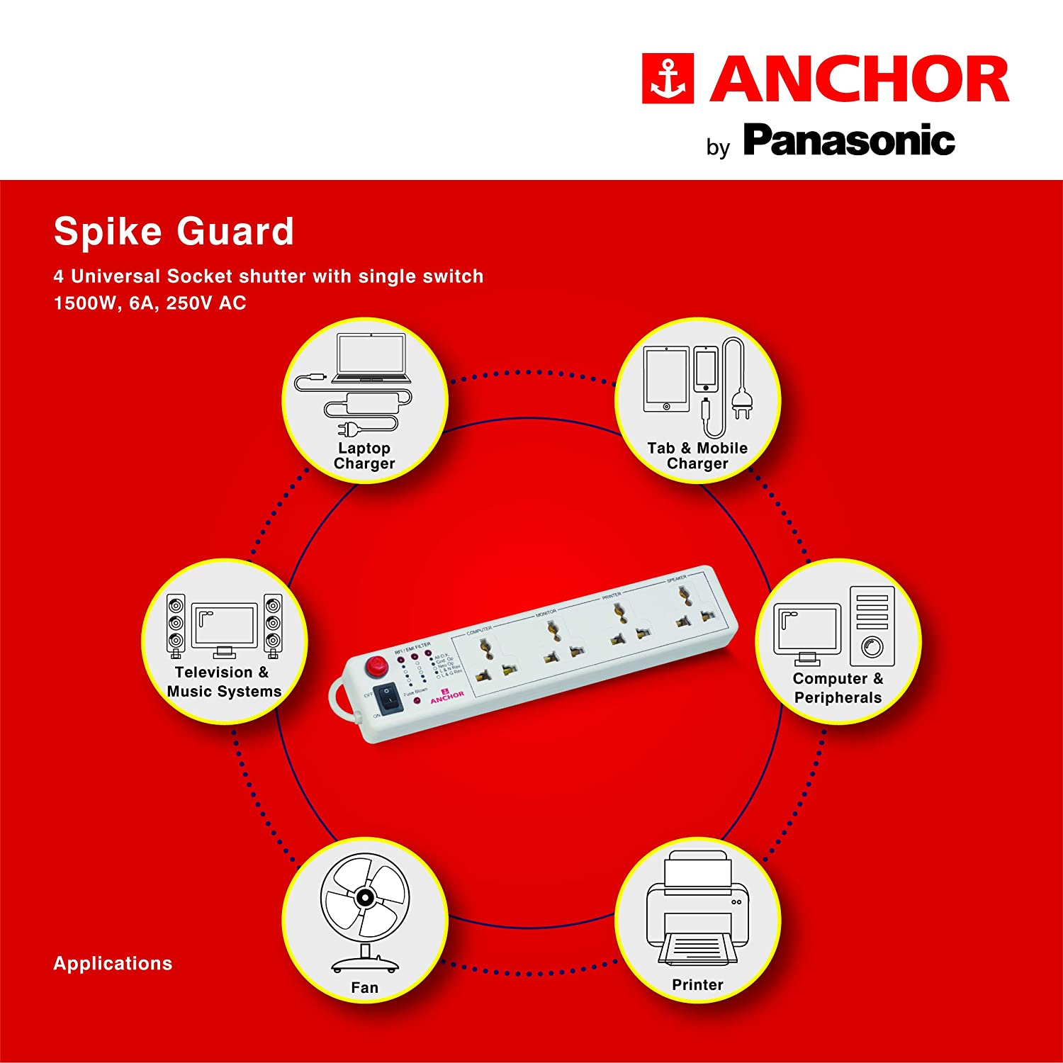 Buy Anchor By Panasonic Spike Guard 4 Way Socket With Single Switch Honeywell Fan Center Wiring Diagram White Online At Low Prices In India